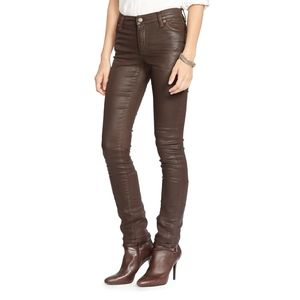 7 For All Mankind Bronze Coated Skinny Jeans 25